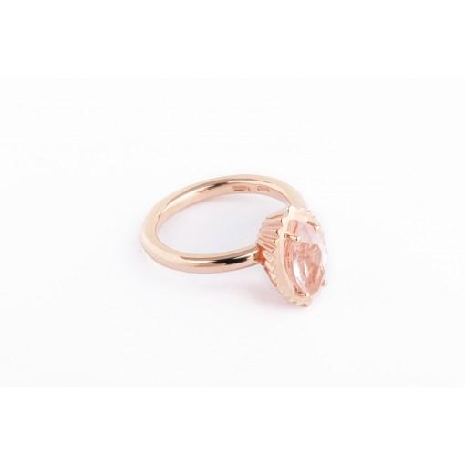 Anello Cupcake marquise in argento e oro rosa con quarzo rosa