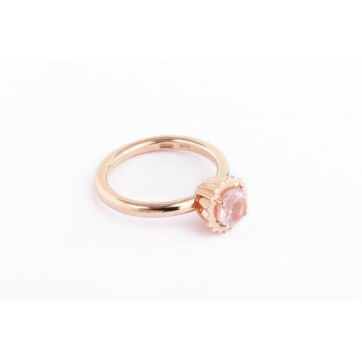 Anello Cupcake rotondo piccolo in argento e oro rosa con quarzo rosa