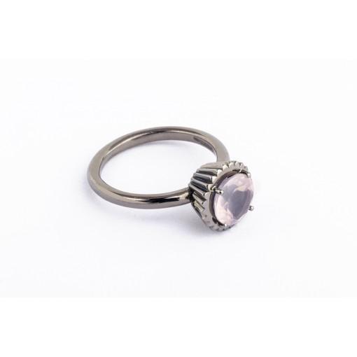 Anello Cupcake rotondo grande in argento brunito con quarzo rosa