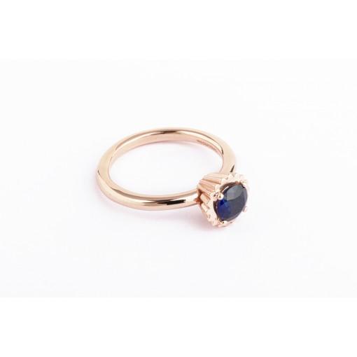 Anello Cupcake rotondo piccolo in argento e oro rosa con zaffiro