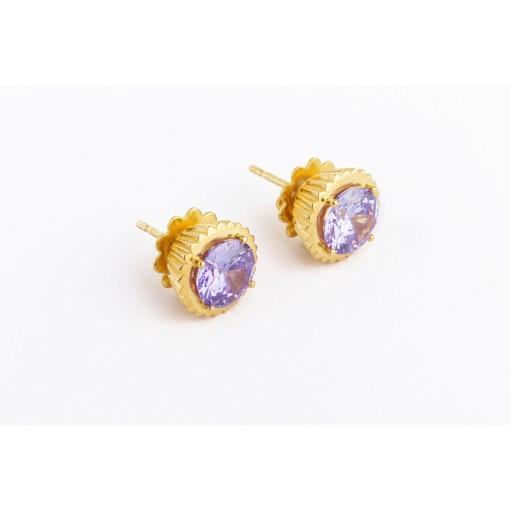 Orecchini Cupcake in argento e oro giallo con pietra viola