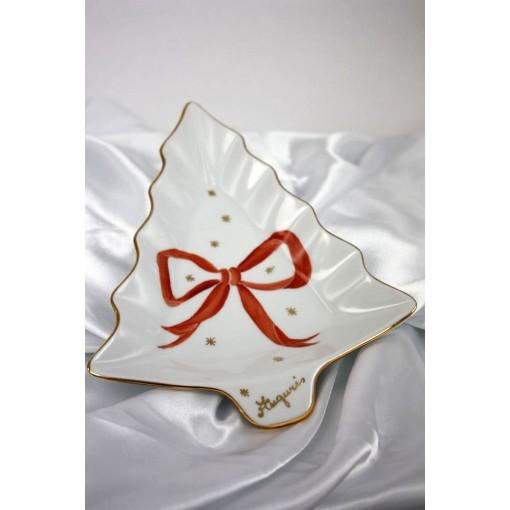 Vassoio Abete di Natale fiocco rosso