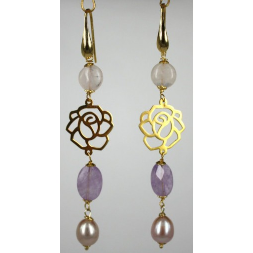 Orecchini in Argento con Ametiste, Quarzo Rosa e Perle