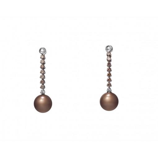 Orecchini in Oro con Perle e Diamanti