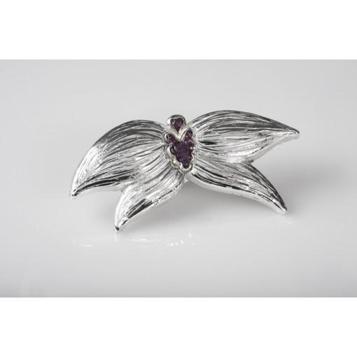 Spilla Orchidea in resina lucida e Ametiste