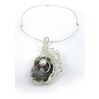 Collana in argento con stagmatite e perla coltivata