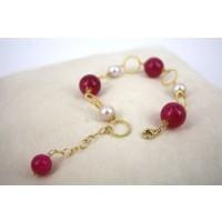 Bracciale in Argento con Agate Rosa e Perle