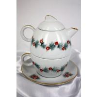 Teiera con tazza incorporata decorazione natalizia rossa