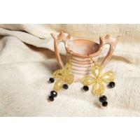 Orecchini Fiorellino 4 petali in merletto e onice