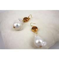 Orecchini in Argento con Zirconi Gialli e Perle