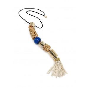 Collana con pendente, lapislazzuli e perle