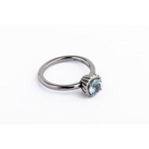 Anello Cupcake rotondo piccolo in argento brunito con acquamarina