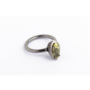 Anello Cupcake marquise in argento brunito con quarzo lemon