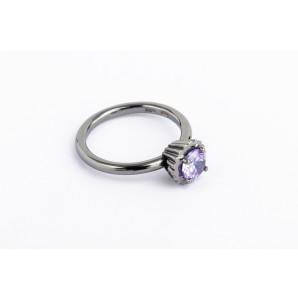 Anello Cupcake rotondo piccolo in argento brunito con pietra viola