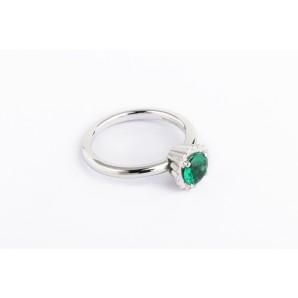 Anello Cupcake rotondo piccolo in argento e oro bianco con smeraldo