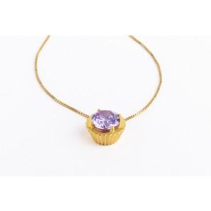 Ciondolo Cupcake in argento e oro giallo con pietra viola