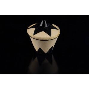 Zuccheriera in argilla refrattaria craquele con motivi geometrici