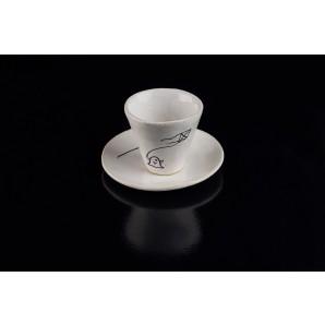 Tazzina con fantasmino e aquilone in ceramica