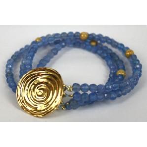 Bracciale in Argento con Agate Azzurre
