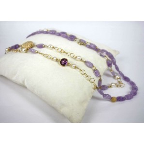 Collana in Argento con Ametiste, Zircone e Perle
