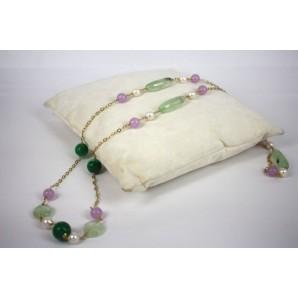 Collana in Argento con Giada, Quarzi e Perle