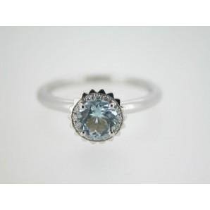 Anello Cupcake rotondo piccolo in oro bianco, acquamarina e diamanti