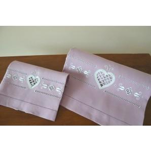 Coppia asciugamani cuore in merletto