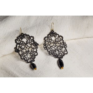 Orecchini filigrana nero in merletto