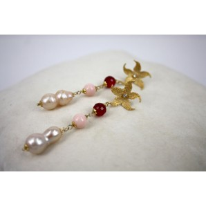 Orecchini in Argento con Agate, Conchiglie e Perle