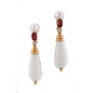 Orecchini in Oro con Perle, Agata e Tormalina