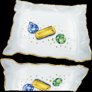 Vassoio porta-gioielli o svuotatasche trompe l'oeil pietre preziose