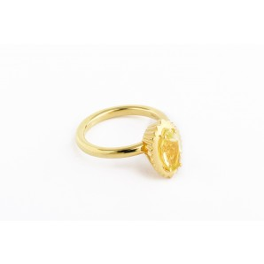 Anello Cupcake marquise in argento e oro giallo con quarzo lemon