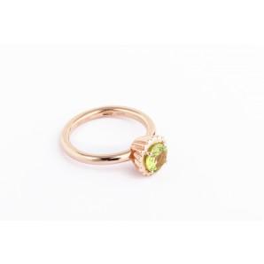 Anello Cupcake rotondo piccolo in argento e oro rosa con peridoto