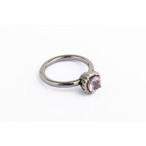 Anello Cupcake rotondo piccolo in argento brunito con quarzo rosa