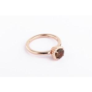 Anello Cupcake rotondo piccolo in argento e oro rosa con quarzo fumè