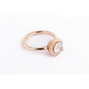 Anello Cupcake rotondo grande in argento e oro rosa con zirconia