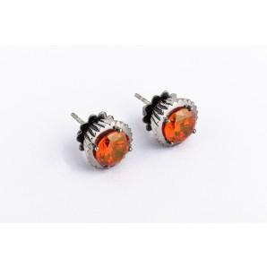 Orecchini Cupcake in argento brunito con pietra arancione