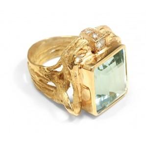 Anello Specchio in Oro e Acquamarine