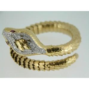 Bracciale Animal Mistique Serpente in oro e rubini