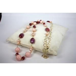 Collana in Argento con Agate, Conchiglie e Perle