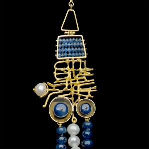 Collier Satelliti in Oro, Zaffiri e Perle