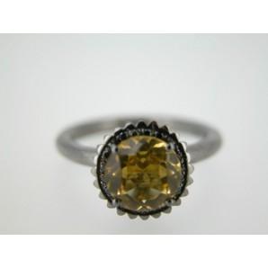 Anello Cupcake rotondo grande in oro nero, quarzo citrino e diamanti