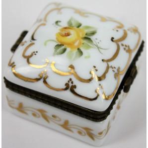 Scatolina in porcellana personalizzabile motivo floreale