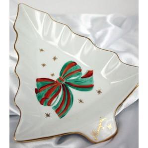 Vassoio Abete di Natale fiocco verde e rosso