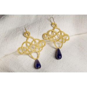 Orecchini Leonardo oro e blu in merletto