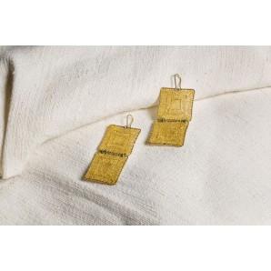 Orecchini longobardi doppio quadrato in merletto