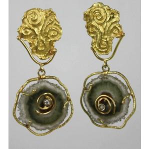 Orecchini in Oro con Quarzo e Diamante