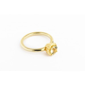 Small Round Cupcake Ring in silver and yellow gold with lemon quartz