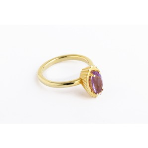 Marquise Cupcake Ring in silver and yellow gold with amethyst