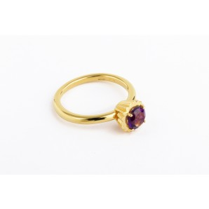Small Round Cupcake Ring in silver and yellow gold with amethyst